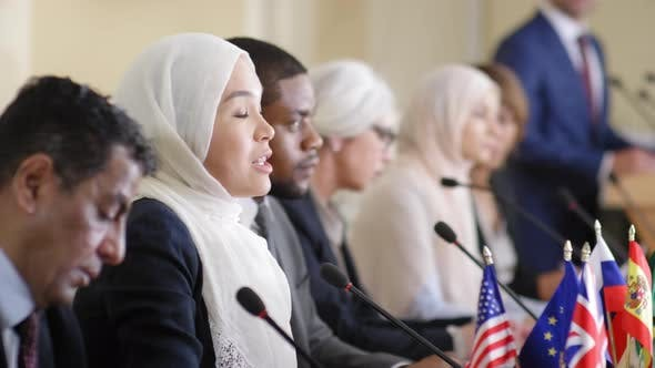 Thumbnail for Muslim Woman Giving Public Talk at Press Conference