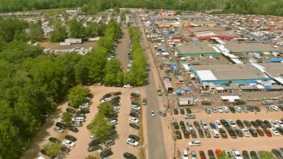 Panorama View of Flea Market at Old Objects for Sale a Lots of Market on Englishtown NJ USA