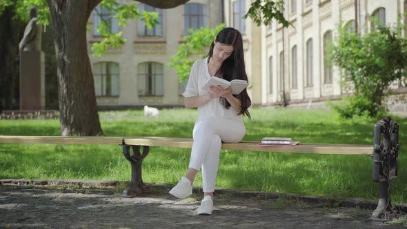 Wide Shot of Concentrated Brunette Woman in White Clothes Sitting on Bench on Sunny Day and Reading