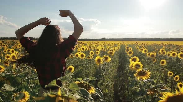 Thumbnail for Carefree Happy Woman Running in Sunflower Field