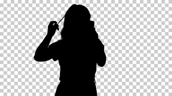 Thumbnail for Silhouette A woman doing her hair, Alpha Channel