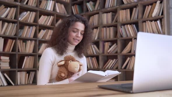 Latin Girl Remote Kids Teacher Reading Fairy Tale Book Teaching Children Online