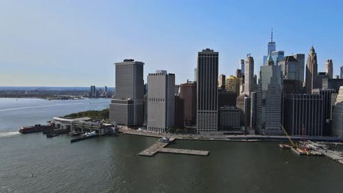 Lower Manhattan Urban Skyscrapers and Whitehall South Ferry Terminal, New York Way From Staten