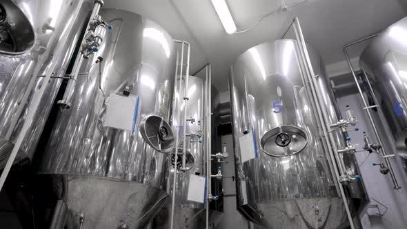 Thumbnail for Metal Cisterns for Mashing Malt for Beer Are Standing in Shop of Industrial Brewery, Round Panoramic