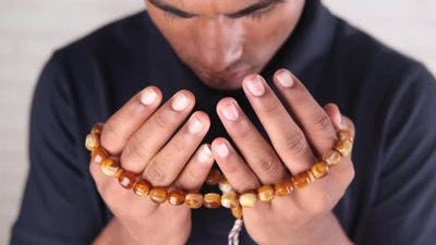 Muslim Man Praying During Ramadan Close Up
