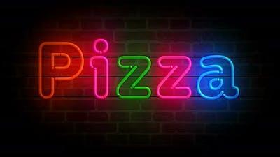 Pizza neon on brick wall loop