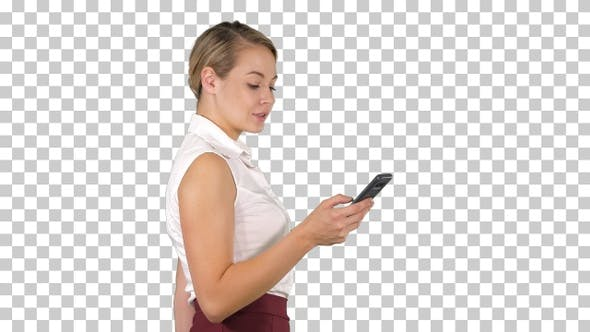 Half Length Portrait of Young Businesswoman Looking at Her Phone
