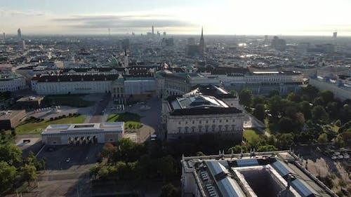 Vienna - flying over Heldenplatz and Hofburg palace, Austria