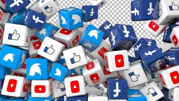 Social Media Icons Transition - Facebook, Twitter, Youtube and Like