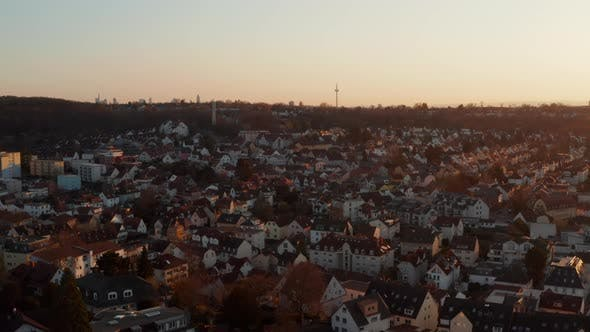 Aerial Evening View of Calm Small Spa Town