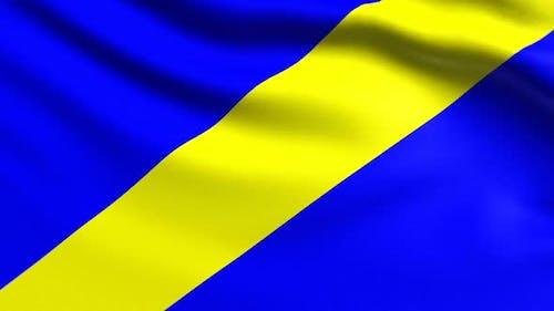 Auto Racing Blau mit gelben Streifen Flagge