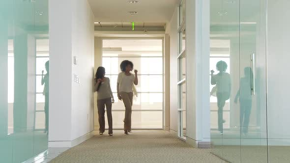 Thumbnail for Two businesswomen dancing in office hallway