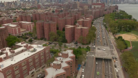Thumbnail for Flight Over Freeway with Car Traffic, New York City Skyline