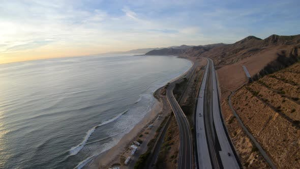 Cover Image for Ventura California Flying Above Pacific Coast Highway Traffic