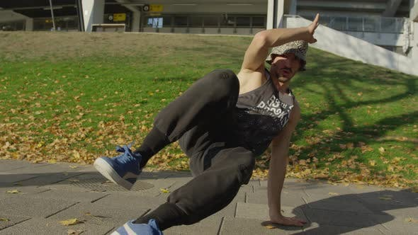 Thumbnail for B-boy performing outdoors