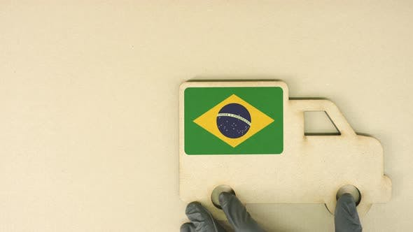 Recycled Cardboad Truck Icon with Flag of Brazil