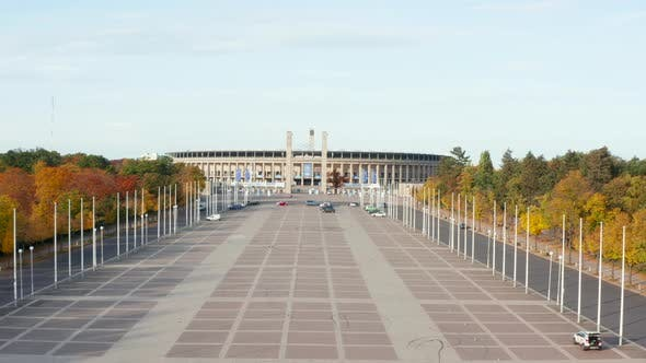 Thumbnail for Olympiastadion in Berlin, Germany with No People During Coronavirus Covid 19 Pandemic, Aerial Wide
