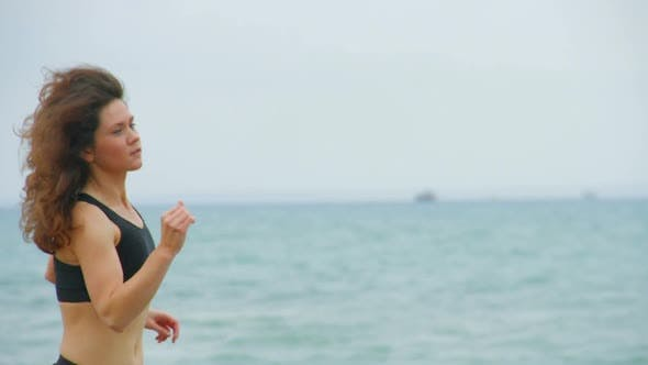 Thumbnail for Pretty Brunette Girl in Sports Suit Jogging Outdoors, Living Active Healthy Life