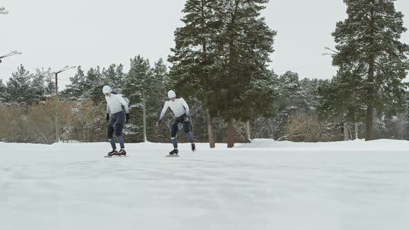 Thumbnail for Female Speed Skaters Training Outdoors