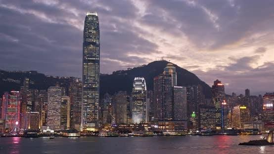 Thumbnail for Hong Kong skyline at sunset