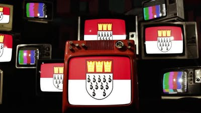 Flag of Cologne, Germany, on Retro TVs.