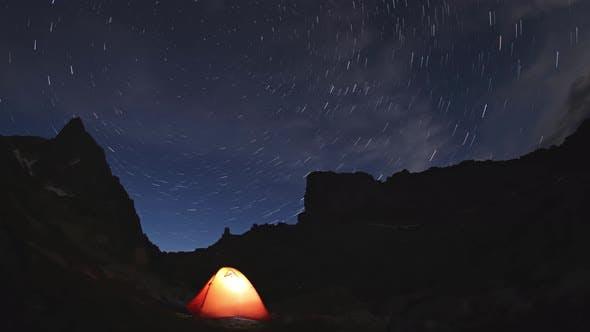 Tourist Orange Tent in the Mountains
