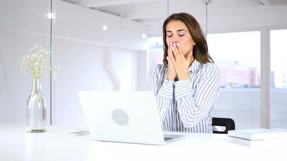 Thumbnail for Hispanic Woman Coughing at Work in Office, Throat infection