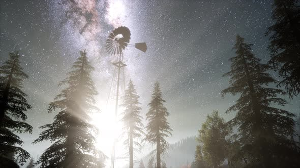 Thumbnail for Retro Windmill in Mountain Forest