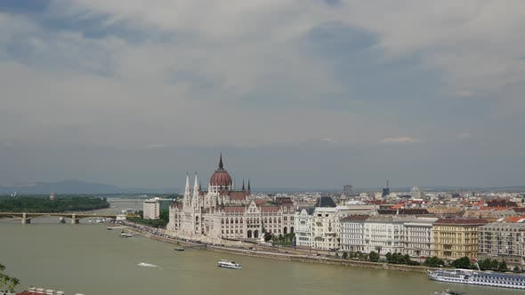 Thumbnail for Skyline of Budapest from Buda Castle and Danube River which separates Buda and Pest