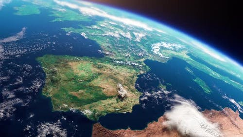 Cinematic Space View of Europe Realistic Planet Earth Rotation in Cosmos