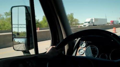 Truck Driver Rides to Destination Cargo