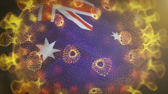 Australia Flag With Coronavirus Microbe