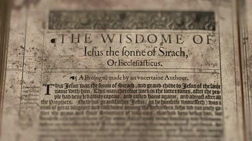 Book The Wisdom Of Sirach, Slider Shot, Old Paper Bible, King James Bible