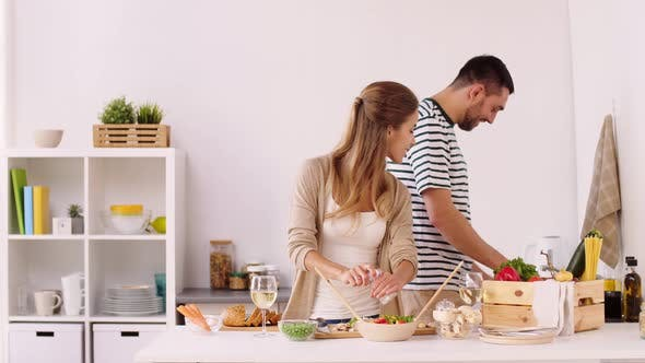 Thumbnail for Happy Couple Cooking Food and Having Fun at Home