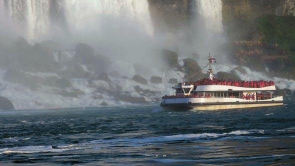 Thumbnail for Niagara Falls Canada Boat at the bottom of Horseshoe waterfall.