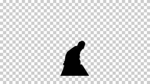 Silhouette Yoga man, Alpha Channel