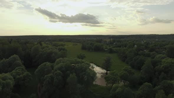 Thumbnail for In the Countryside at Sunset, Aerial View