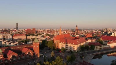 Aerial shot of Wroclaw city in Poland, Central Europe