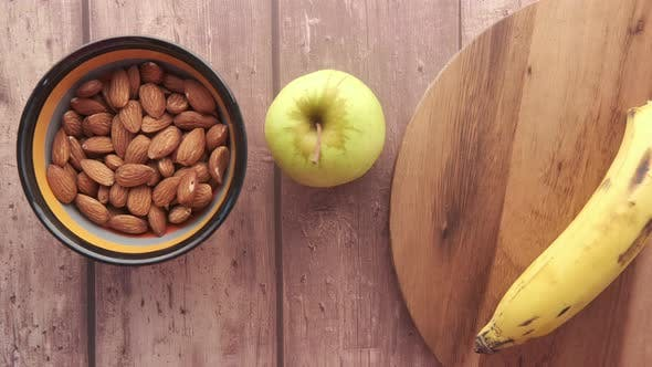 Almond Nut Milk and Banana on Table