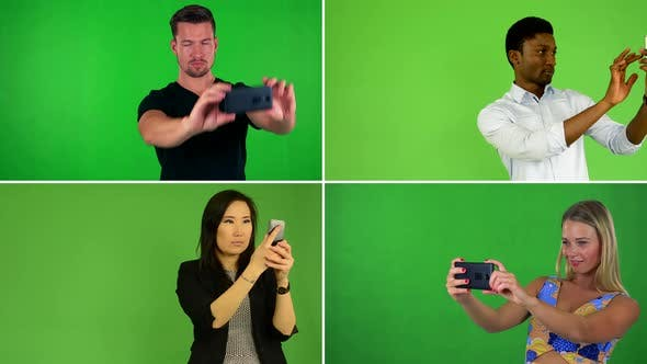 Thumbnail for Compilation (Montage) - People Take Pictures with Smartphone - Green Screen