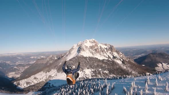 Thumbnail for Free Flight Paragliding in Cold Winter Mountains Nature Freedom Flying Adrenaline Adventure