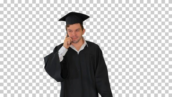 Thumbnail for Male graduate in gown and mortarboard, Alpha Channel