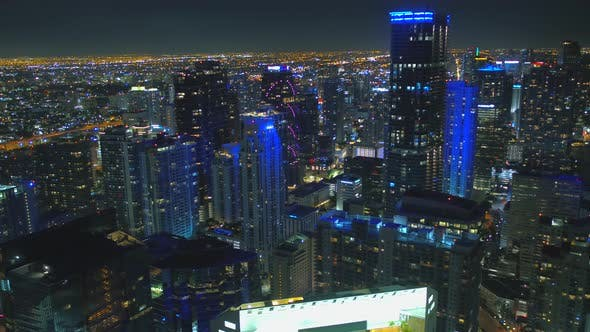 High Altitude Aerial Over City Of Brickell Miami Fl