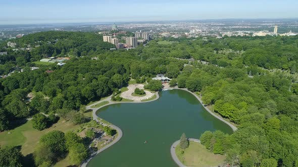 Thumbnail for Aerial view of the Beaver Lake, on Mount Royal