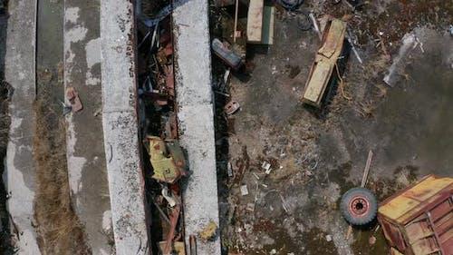 Drone Flight Over Rusty Scrap Dump in Chernobyl