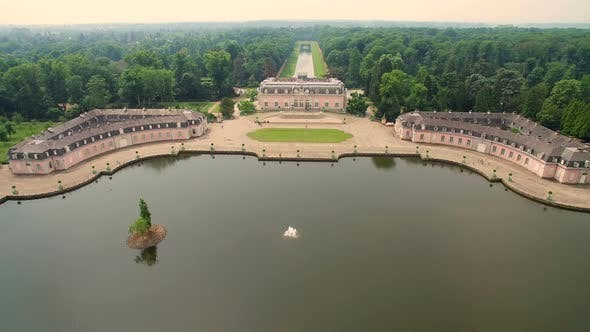 Thumbnail for Aerial Dusseldorf Germany Beneath Castle and Park