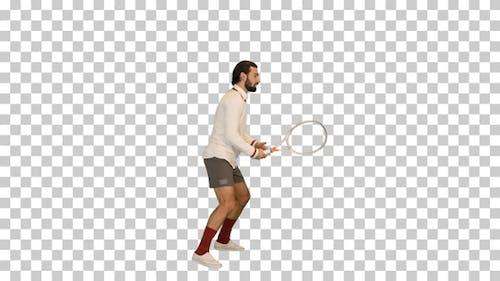 Junger Mann imitiert Tennisspiel, Alpha Channel