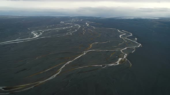 Aerial View Of Huge Riverbed In Iceland
