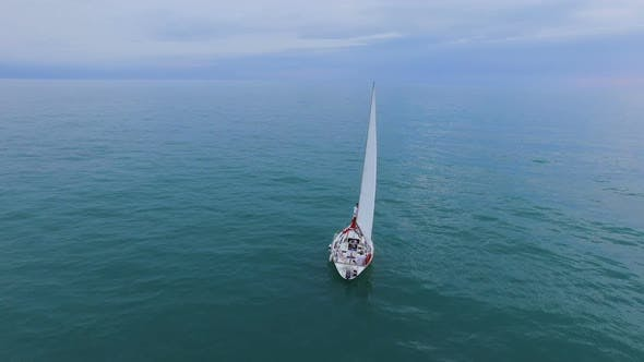 Thumbnail for Sailing Boat Going Down Turquoise Sea, Luxurious Lifestyle, Unimpeded Freedom