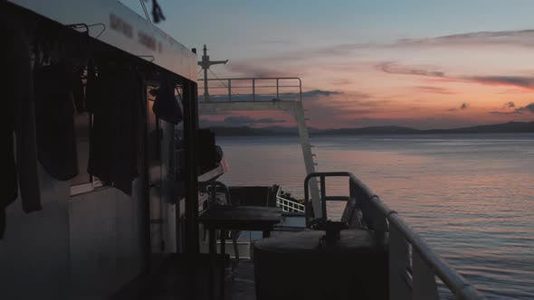 Serene View on the Ocean From the Deck of a Sailing Ferry at Daybreak.